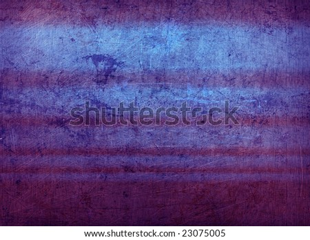 A sheet of rusted, stained & scratched metal lit with bright stripes, suitable as a background texture. - stock photo