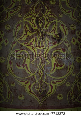 A sheet of rusted, stained & scratched metal, suitable as a background texture. - stock photo