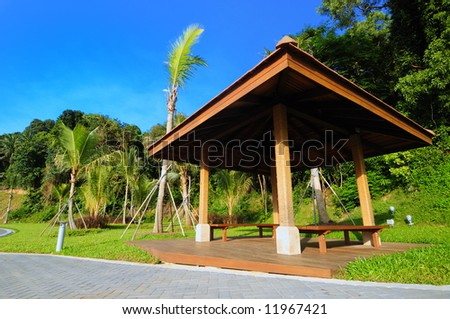 A shelter in a peaceful park