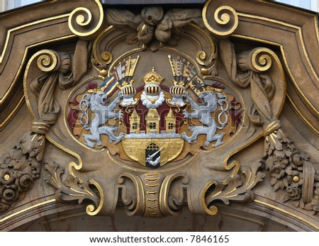 A shield of Prague, Czech republic, on historical building - stock photo
