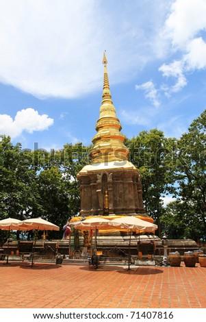 A Shining Golden Pagoda - stock photo