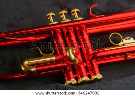 A shining red trumpet with brass details. Trumpet is lying in black open case. Close up of instruments finger buttons, valve and slide.