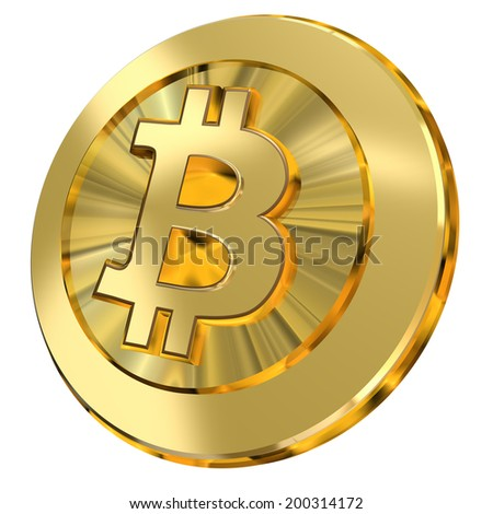 A shiny golden bitcoin illustration representing the virtual currency.  - stock photo