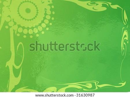 A shiny green swirly background. - stock photo