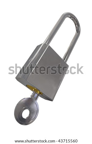 A shiny metal padlock with a key and clipping path - stock photo