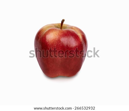 A shiny red apple. Image is isolated on white with light shadow and the file includes a clipping path.