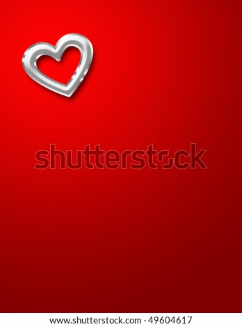 A shiny red chrome heart on a red background. Lots of copy space. - stock photo