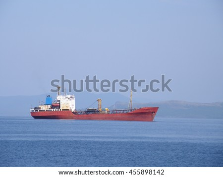 A ship at sea. Near the city of Vladivostok. Ussuri Bay.