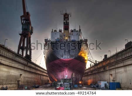 A ship in a dock in Gothenburg harbour. - stock photo
