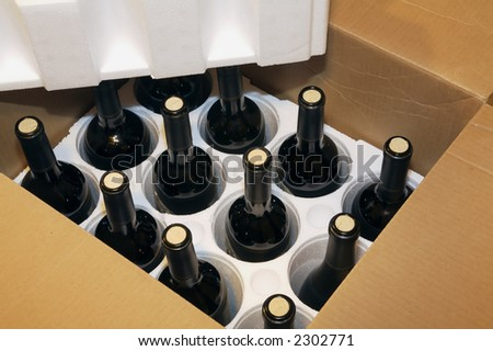 A shipment of a box of wine - stock photo