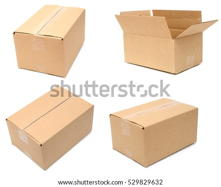 A shipping carton boxes on white