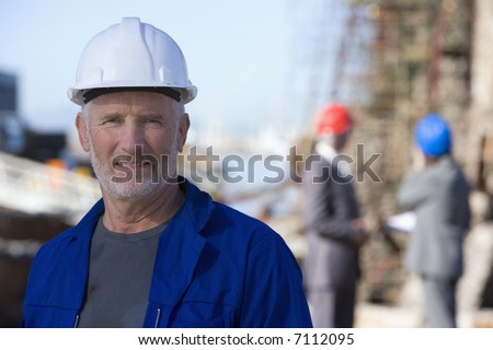 A shipping engineering team on survey - stock photo