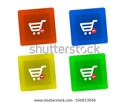 A shopping basket keyboard key isolated against a white background