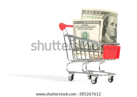 A shopping cart filled with one hundred US dollar bills, isolated on white background.