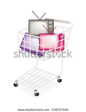 A Shopping Cart Full with Various Colors of Retro Television Isolated on White Background.  - stock photo