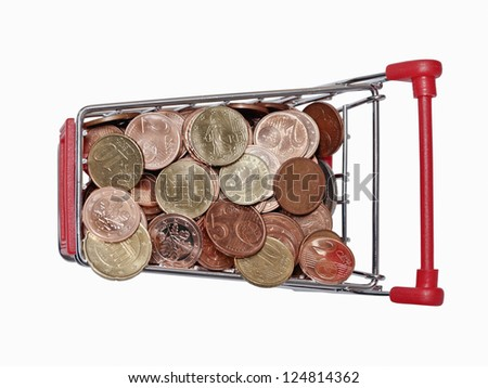 a shopping cart is filled with well-euro coins on white background