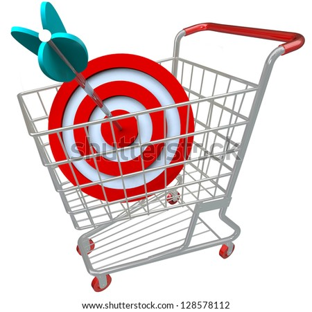 A shopping cart with a red target symbol and an arrow in the bullseye, illustrating a direct hit in targeted marketing and aiming for a niche group of customers - stock photo