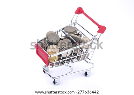 A Shopping Cart With full of Coin On White Background, Selective Focus  - stock photo