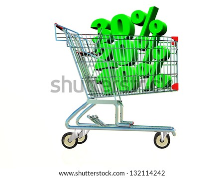 a shopping cart with % inside