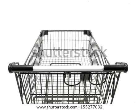 A shopping trolley isolated against a white background - stock photo