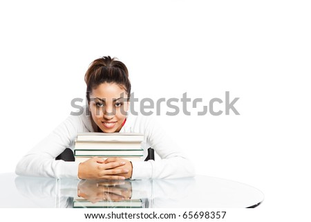 A shot of a beautiful black college student studying - stock photo