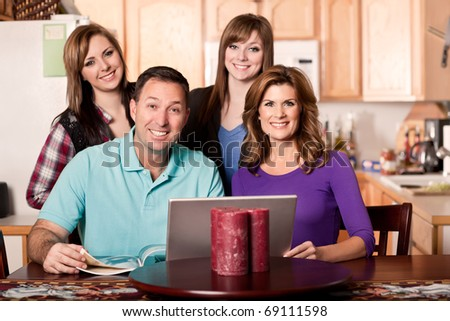 A shot of a caucasian family spending time at home