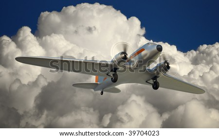 A Shot of a DC3 airplane in flight against a blue cloudy sky