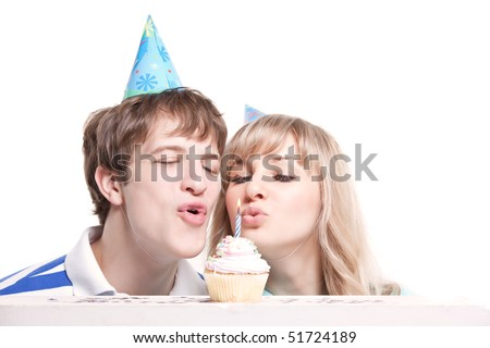A shot of a girl celebrating her birthday with her boyfriend - stock photo
