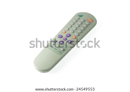 A shot of a remote control with colorful buttons - stock photo