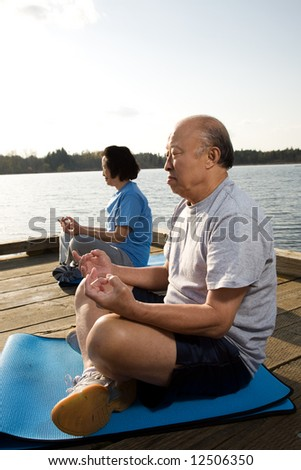 A shot of a senior asian couple meditating and practicing yoga - stock photo