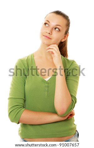 A shot of a thinking beautiful woman looking upward , isolated on white background - stock photo