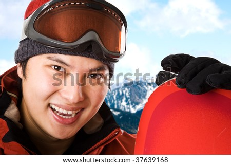A shot of an asian snowboarder at the ski winter resort