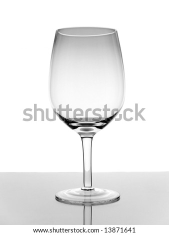 A shot of an empty glass wine with reflection on white background.