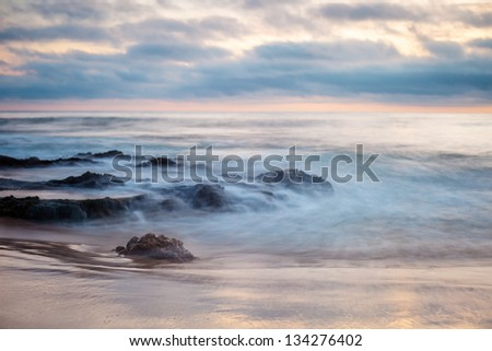 A shot of Big Corona Beach, looking out to the Pacific Ocean. - stock photo