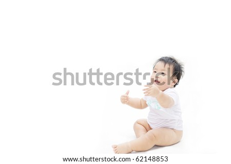 A shot of cute baby looking for hug, isolated - stock photo