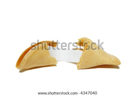A shot of fortune cookie showing a blank message - stock photo