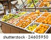 A shot of fruit and vegetables section in a grocery store - stock photo