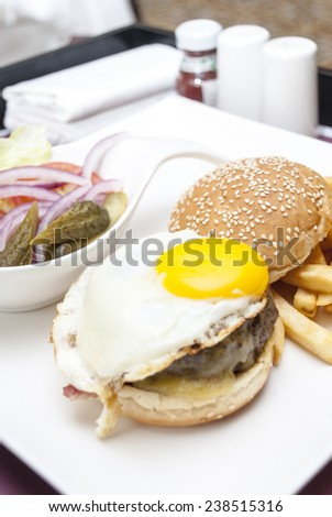 a shot of hamburg and bread in restaurant - stock photo