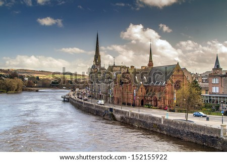 A shot of Perth by the river Tay - stock photo
