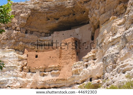 A shot of the cliff dwellings at Montezuma's Castle in Arizona - stock photo