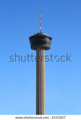 A shot of the Tower of the Americas in San Antonio, Texas from downtown. - stock photo