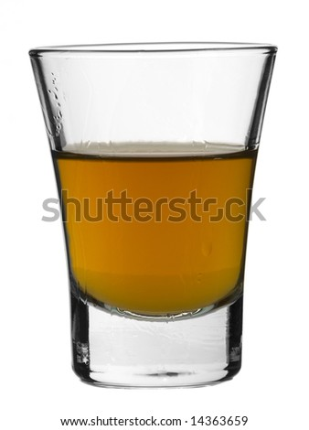 A shot of whiskey on white background. - stock photo