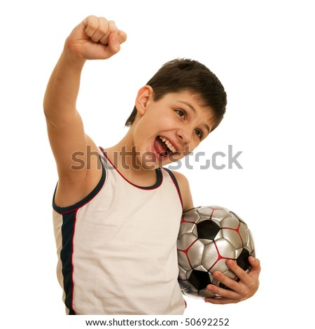 A shouting boy with a soccer ball; isolated on the white background - stock photo