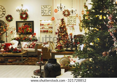 a showroom with furniture and Christmas ornament on Christmas days