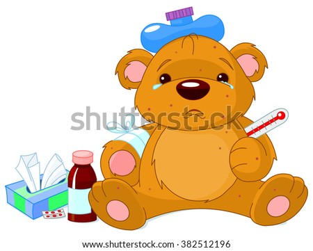 A sick Teddy Bear with thermometer, hot water bottle, peels and a bottle of medicine - stock photo