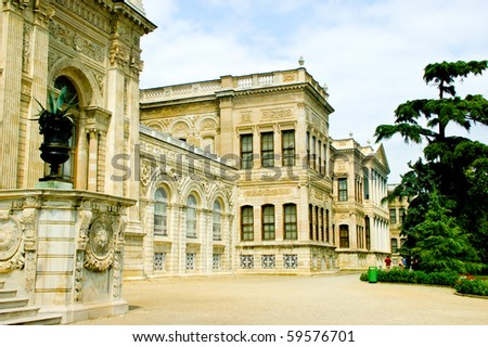 a side of dolmabache palace showing the beautiful stone work - stock photo