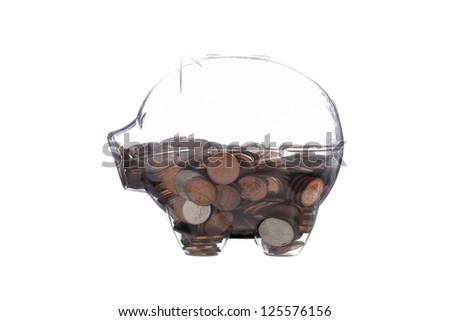 A side-view image of a clear piggy bank over the white background - stock photo