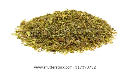 A side view of a combination of ready to use spices on a white background. - stock photo
