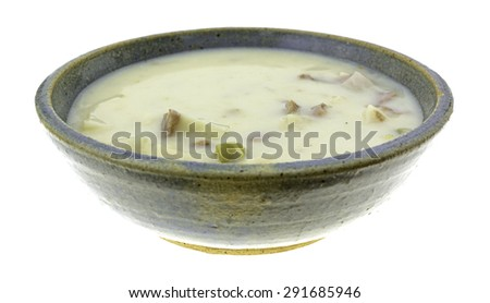 A side view of a creamy beef soup with potatoes and cheese in bowl on a white background. - stock photo