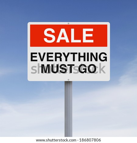 A sign announcing a sales promotion  - stock photo